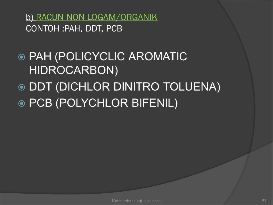 b) RACUN NON LOGAM/ORGANIK CONTOH :PAH, DDT, PCB
