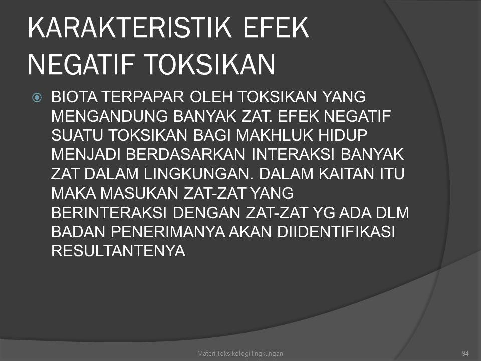 KARAKTERISTIK EFEK NEGATIF TOKSIKAN