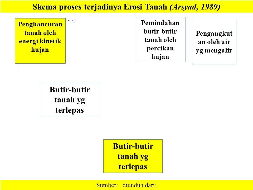 Skema proses terjadinya Erosi Tanah (Arsyad, 1989)