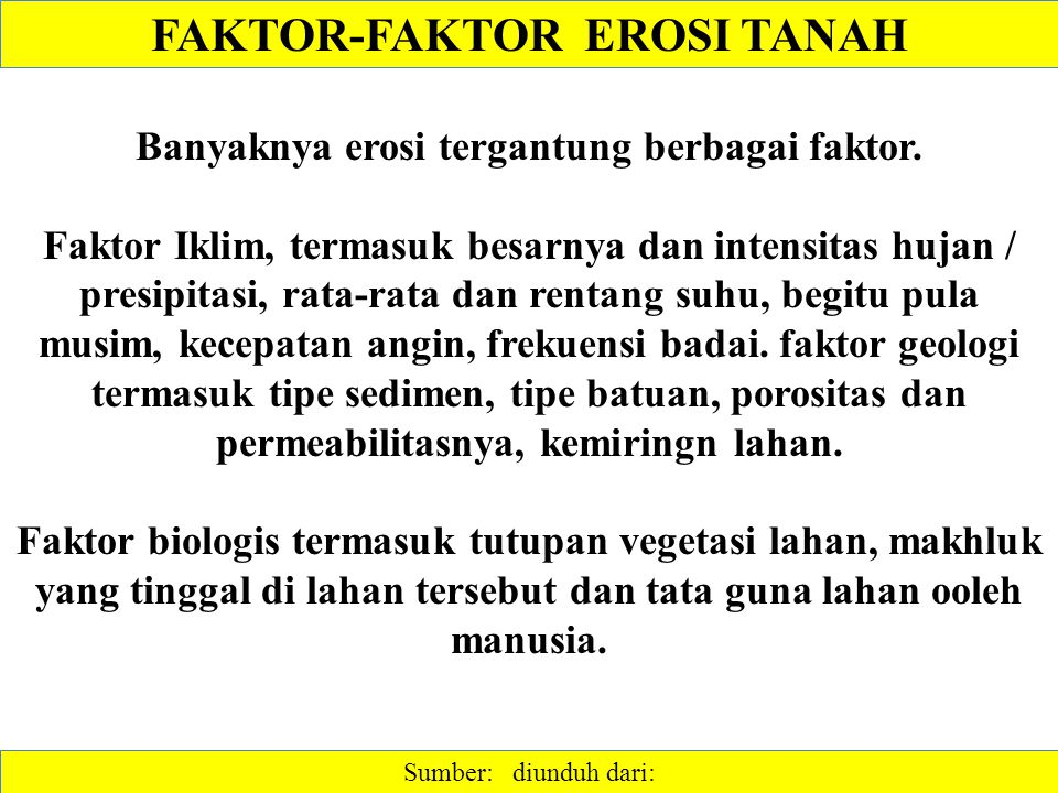 FAKTOR-FAKTOR EROSI TANAH Banyaknya erosi tergantung berbagai faktor.