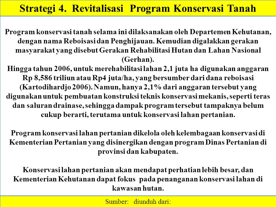 Strategi 4. Revitalisasi Program Konservasi Tanah