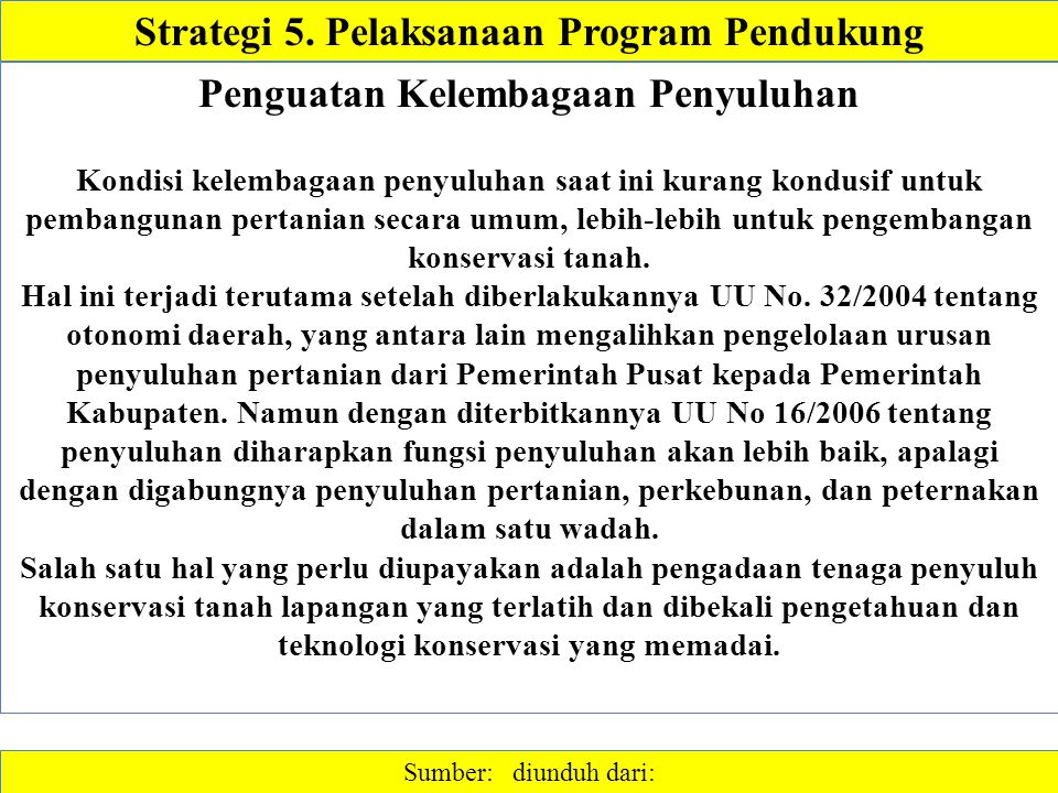 Strategi 5. Pelaksanaan Program Pendukung