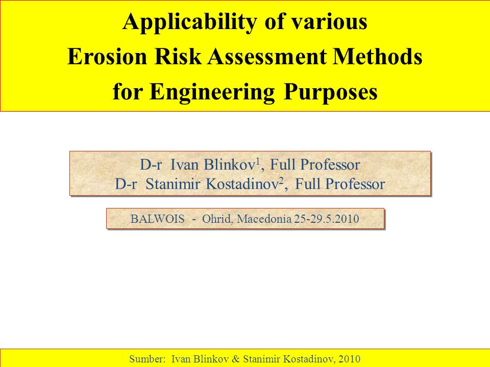 Applicability of various Erosion Risk Assessment Methods