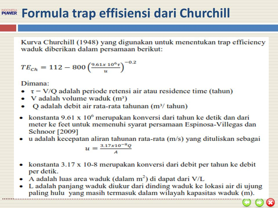Formula trap effisiensi dari Churchill