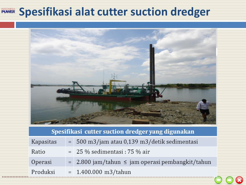 Spesifikasi alat cutter suction dredger