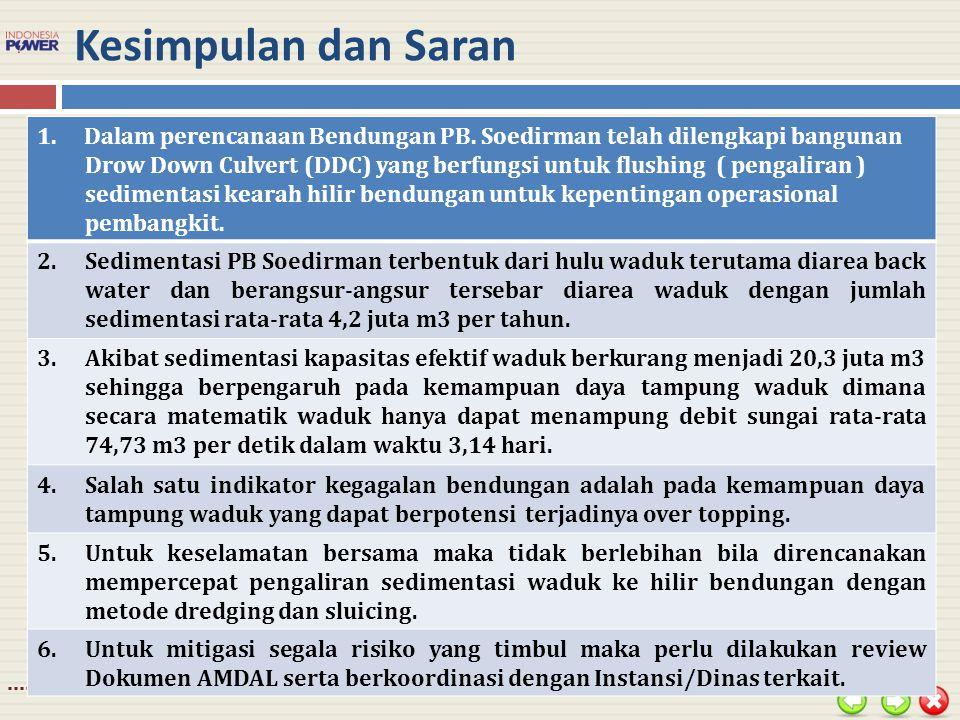 Kesimpulan dan Saran Dalam perencanaan Bendungan PB. Soedirman telah dilengkapi bangunan.
