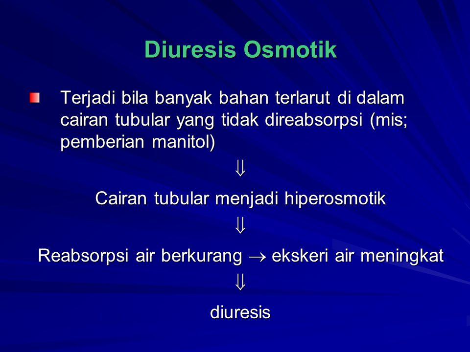 Diuresis Osmotik Terjadi bila banyak bahan terlarut di dalam cairan tubular yang tidak direabsorpsi (mis; pemberian manitol)