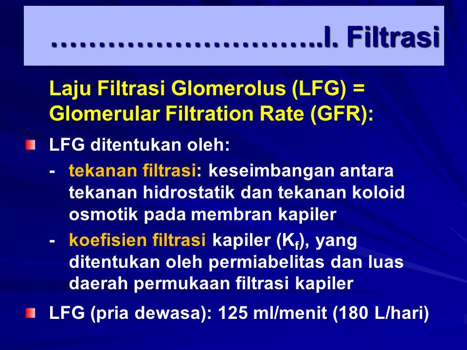 ………………………..I. Filtrasi Laju Filtrasi Glomerolus (LFG) = Glomerular Filtration Rate (GFR): LFG ditentukan oleh: