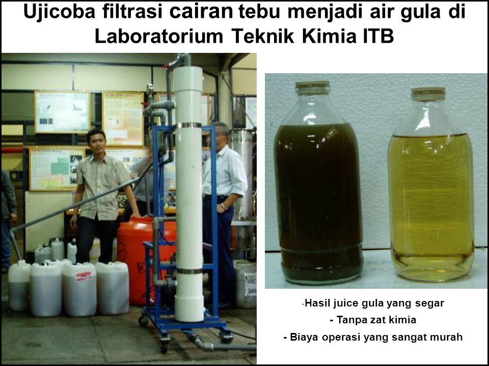 Ujicoba filtrasi cairan tebu menjadi air gula di Laboratorium Teknik Kimia ITB