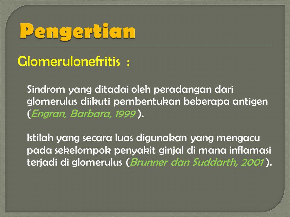 Pengertian Glomerulonefritis :