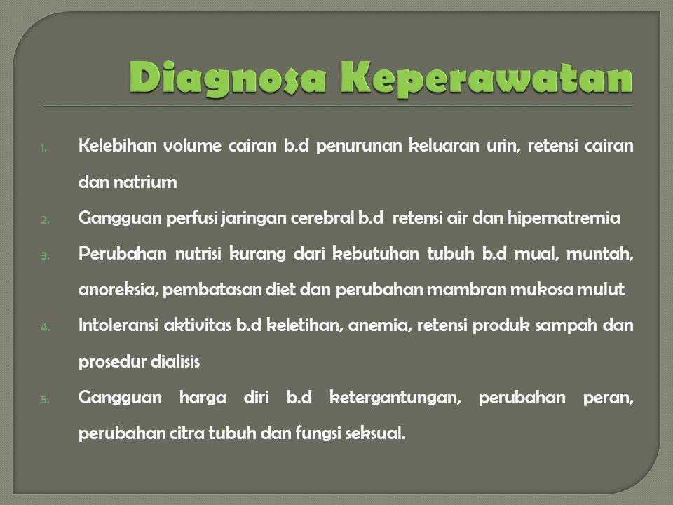 Diagnosa Keperawatan Kelebihan volume cairan b.d penurunan keluaran urin, retensi cairan dan natrium.