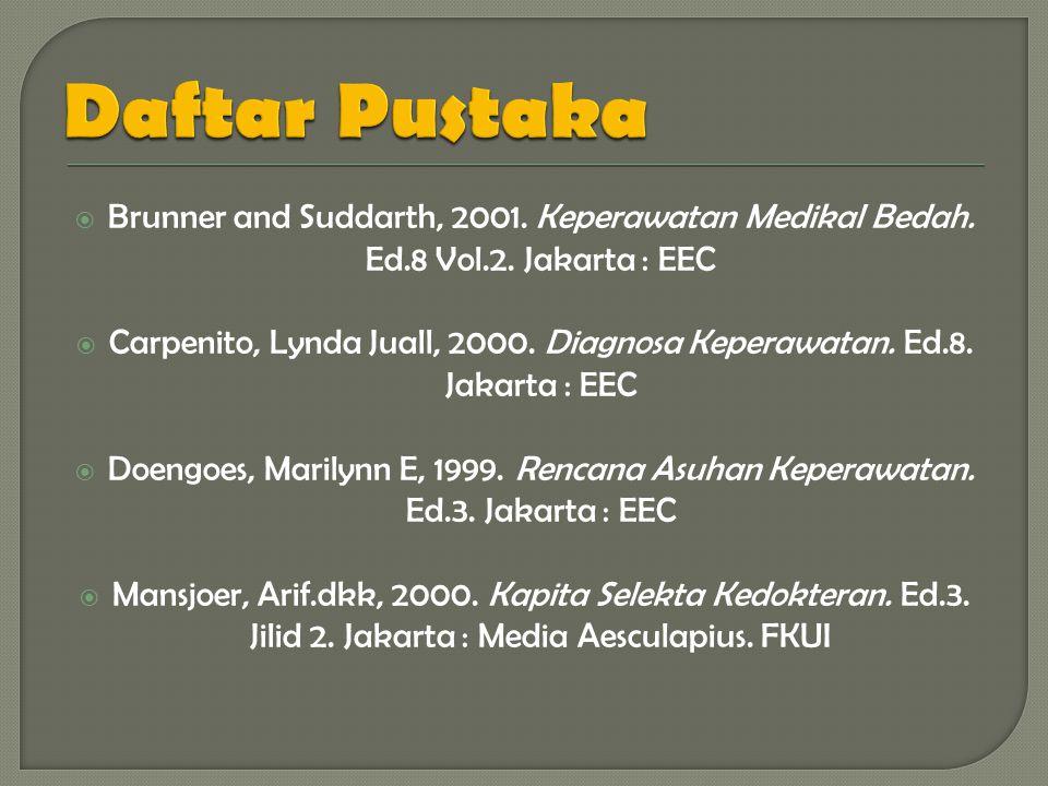 Daftar Pustaka Brunner and Suddarth, 2001. Keperawatan Medikal Bedah. Ed.8 Vol.2. Jakarta : EEC.