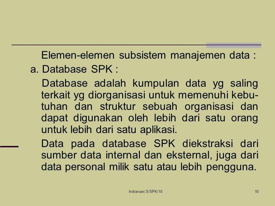 Elemen-elemen subsistem manajemen data : a. Database SPK :
