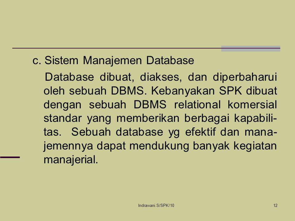 c. Sistem Manajemen Database