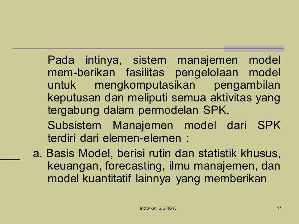 Subsistem Manajemen model dari SPK terdiri dari elemen-elemen :