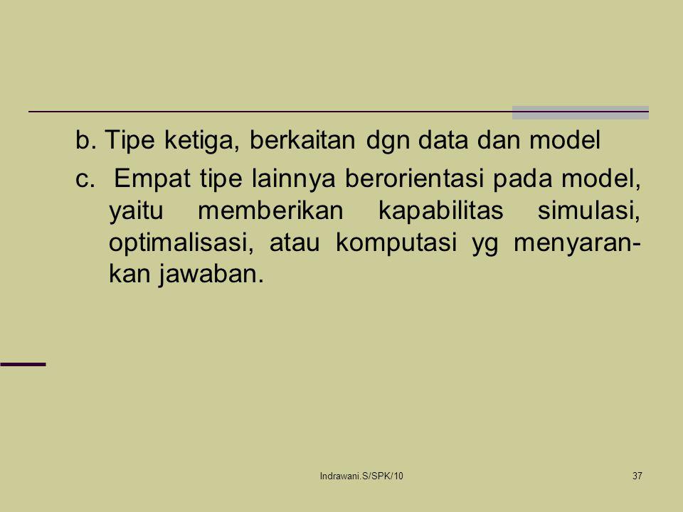 b. Tipe ketiga, berkaitan dgn data dan model