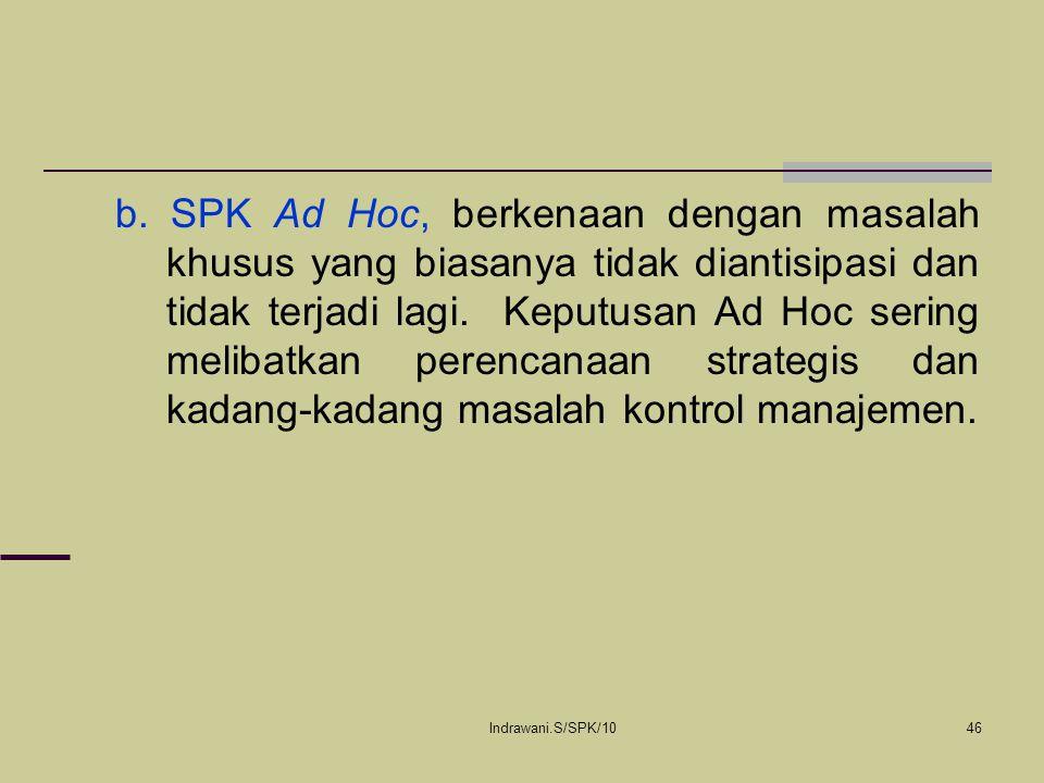b. SPK Ad Hoc, berkenaan dengan masalah khusus yang biasanya tidak diantisipasi dan tidak terjadi lagi. Keputusan Ad Hoc sering melibatkan perencanaan strategis dan kadang-kadang masalah kontrol manajemen.