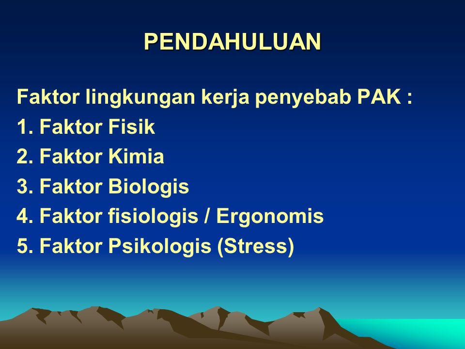 PENDAHULUAN Faktor lingkungan kerja penyebab PAK : 1. Faktor Fisik