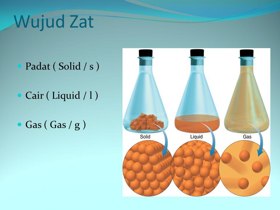 Wujud Zat Padat ( Solid / s ) Cair ( Liquid / l ) Gas ( Gas / g )