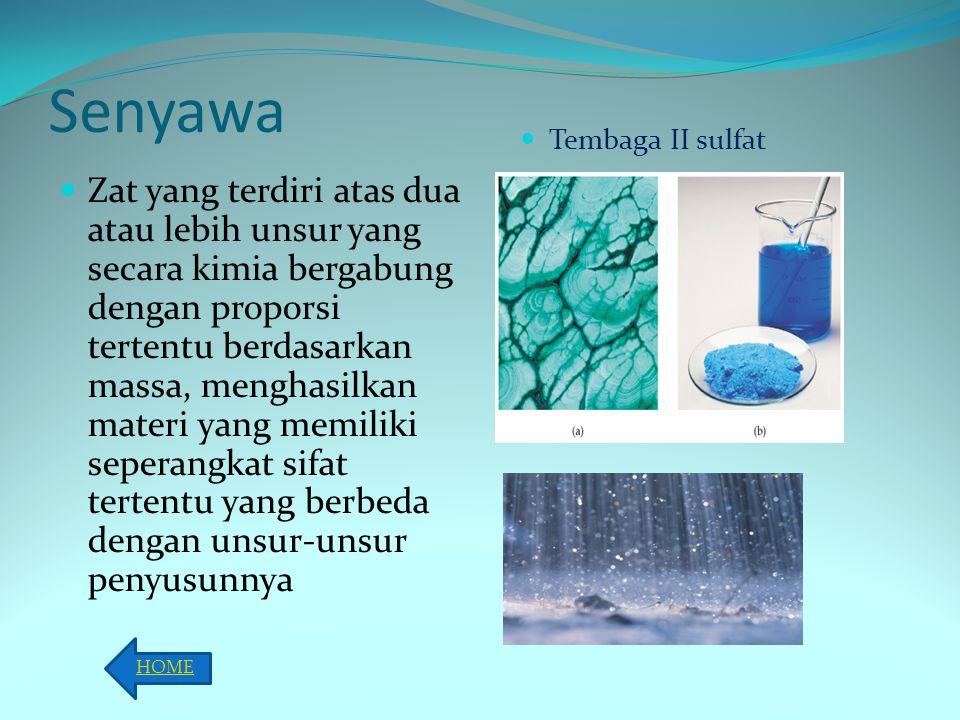 Senyawa Tembaga II sulfat.
