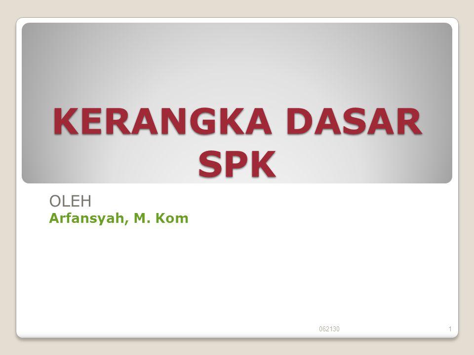 KERANGKA DASAR SPK OLEH Arfansyah, M. Kom 062130