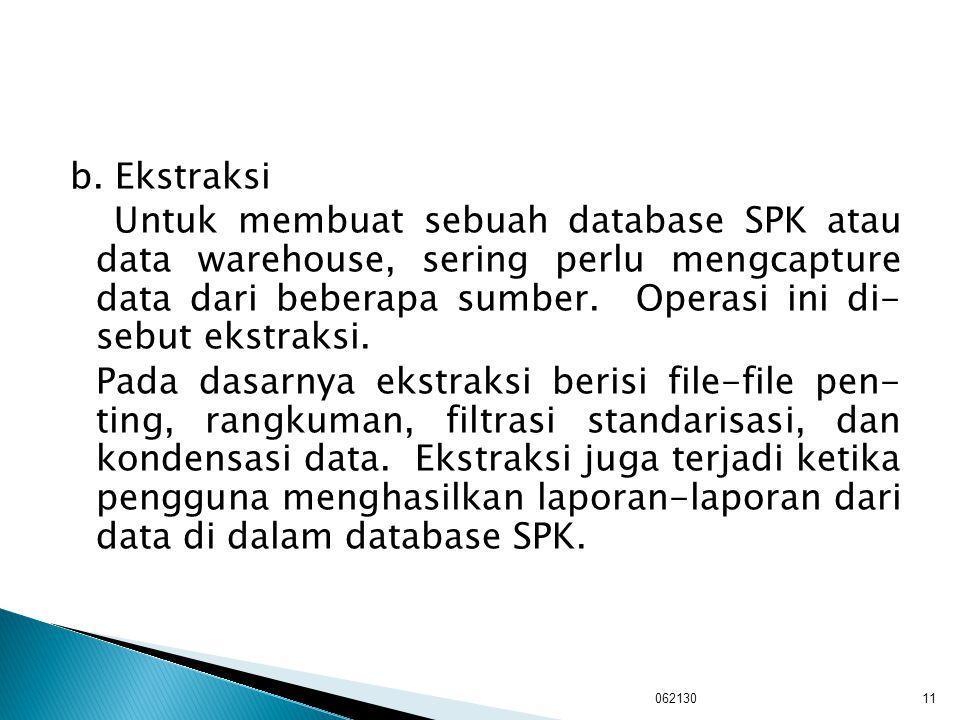b. Ekstraksi Untuk membuat sebuah database SPK atau data warehouse, sering perlu mengcapture data dari beberapa sumber. Operasi ini di- sebut ekstraksi. Pada dasarnya ekstraksi berisi file-file pen- ting, rangkuman, filtrasi standarisasi, dan kondensasi data. Ekstraksi juga terjadi ketika pengguna menghasilkan laporan-laporan dari data di dalam database SPK.