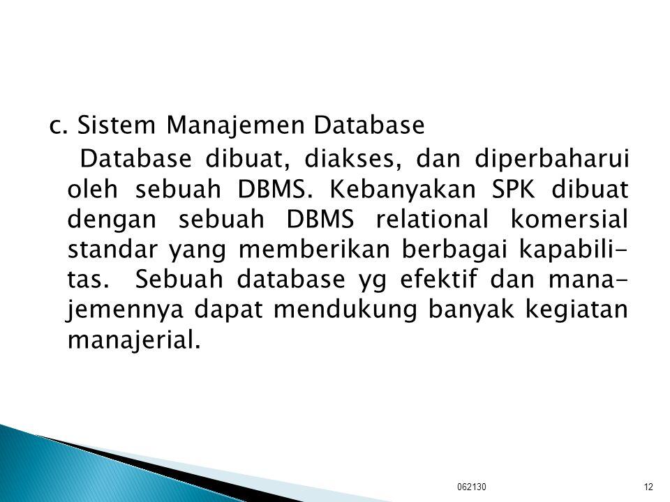 c. Sistem Manajemen Database Database dibuat, diakses, dan diperbaharui oleh sebuah DBMS. Kebanyakan SPK dibuat dengan sebuah DBMS relational komersial standar yang memberikan berbagai kapabili- tas. Sebuah database yg efektif dan mana- jemennya dapat mendukung banyak kegiatan manajerial.