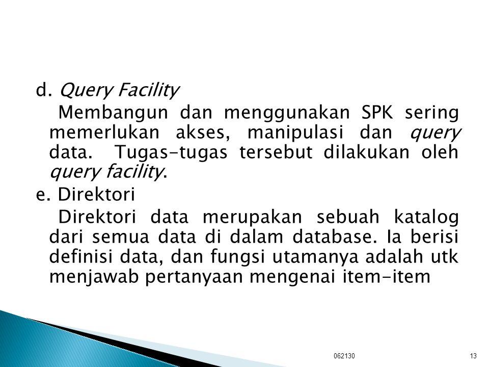 d. Query Facility Membangun dan menggunakan SPK sering memerlukan akses, manipulasi dan query data. Tugas-tugas tersebut dilakukan oleh query facility. e. Direktori Direktori data merupakan sebuah katalog dari semua data di dalam database. Ia berisi definisi data, dan fungsi utamanya adalah utk menjawab pertanyaan mengenai item-item