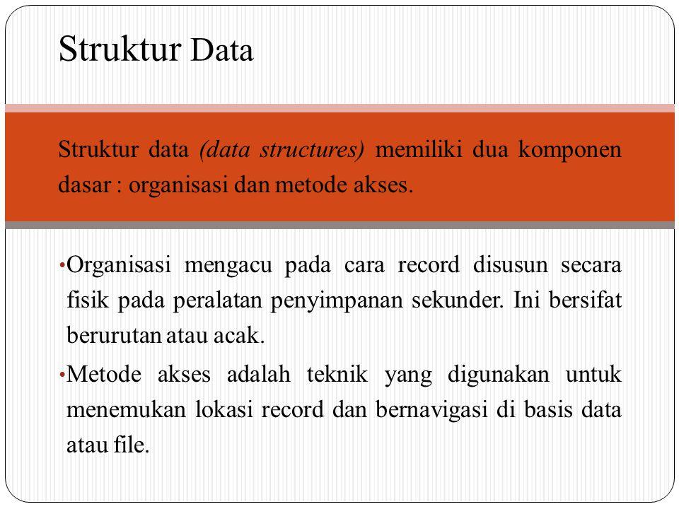 Struktur Data Struktur data (data structures) memiliki dua komponen dasar : organisasi dan metode akses.