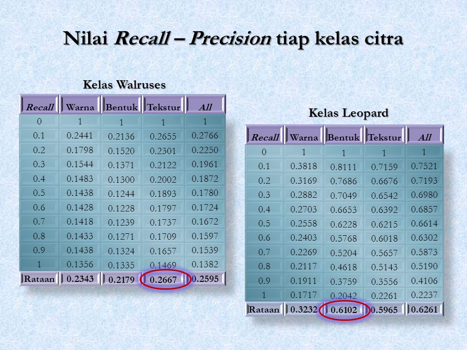 Nilai Recall – Precision tiap kelas citra