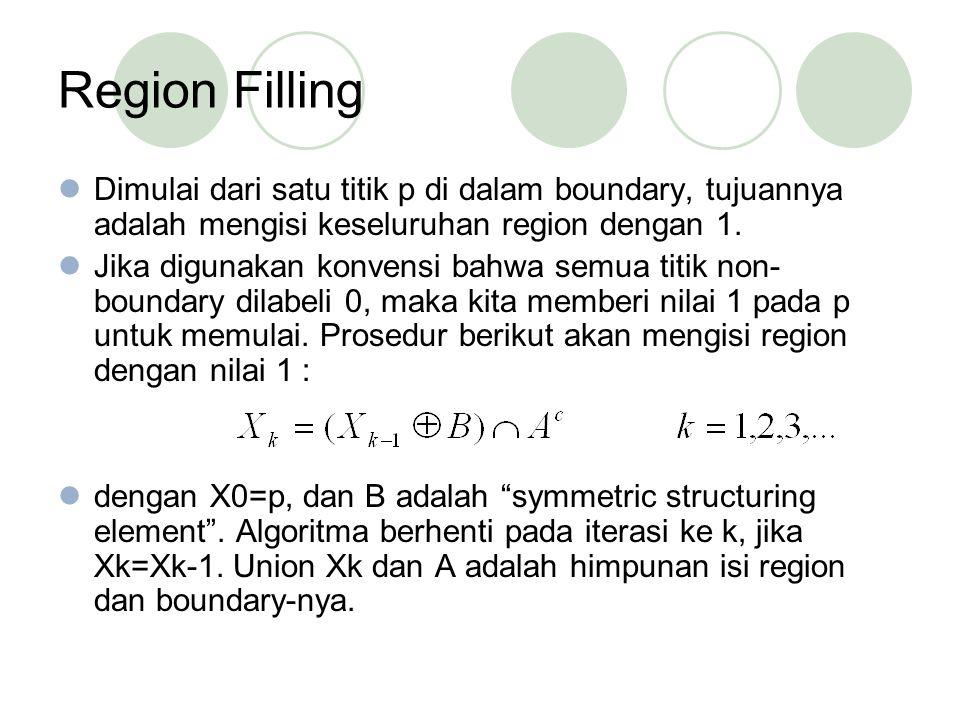 Region Filling Dimulai dari satu titik p di dalam boundary, tujuannya adalah mengisi keseluruhan region dengan 1.