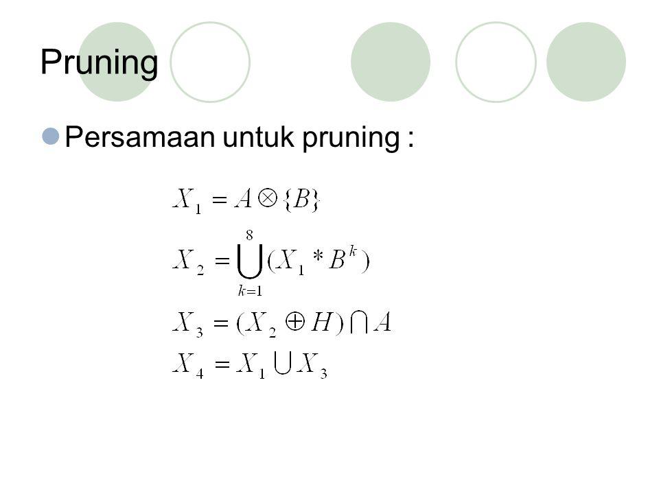 Pruning Persamaan untuk pruning :