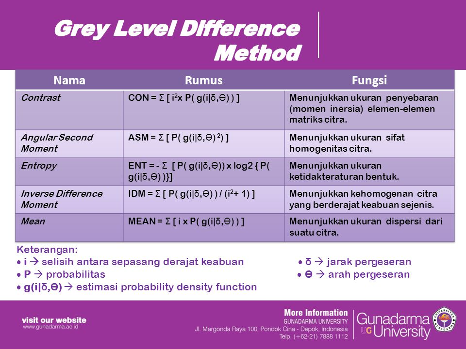 Grey Level Difference Method