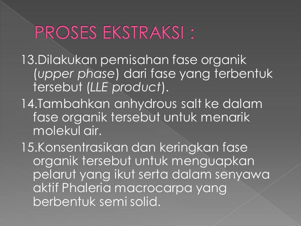 PROSES EKSTRAKSI : 13.Dilakukan pemisahan fase organik (upper phase) dari fase yang terbentuk tersebut (LLE product).