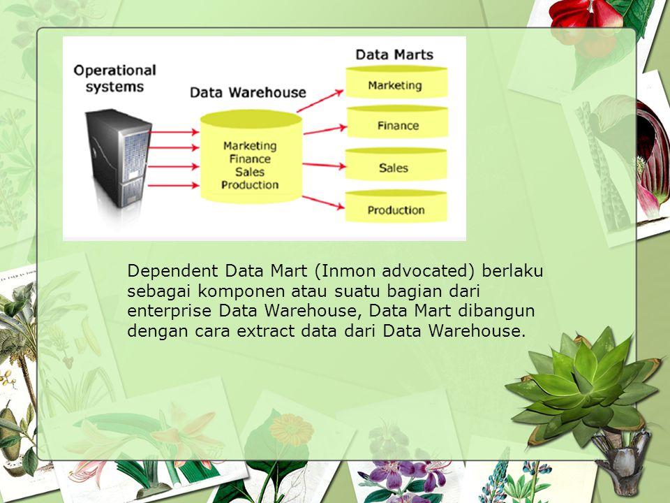 Dependent Data Mart (Inmon advocated) berlaku sebagai komponen atau suatu bagian dari enterprise Data Warehouse, Data Mart dibangun dengan cara extract data dari Data Warehouse.