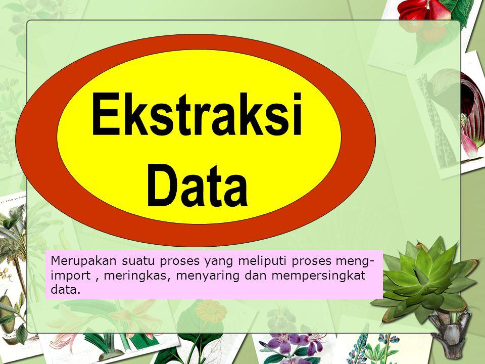 Ekstraksi Data Merupakan suatu proses yang meliputi proses meng-import , meringkas, menyaring dan mempersingkat data.