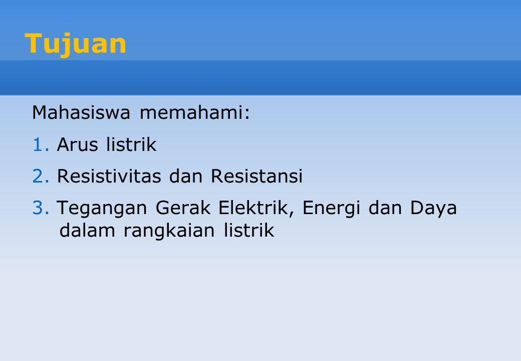 Tujuan Mahasiswa memahami: Arus listrik Resistivitas dan Resistansi