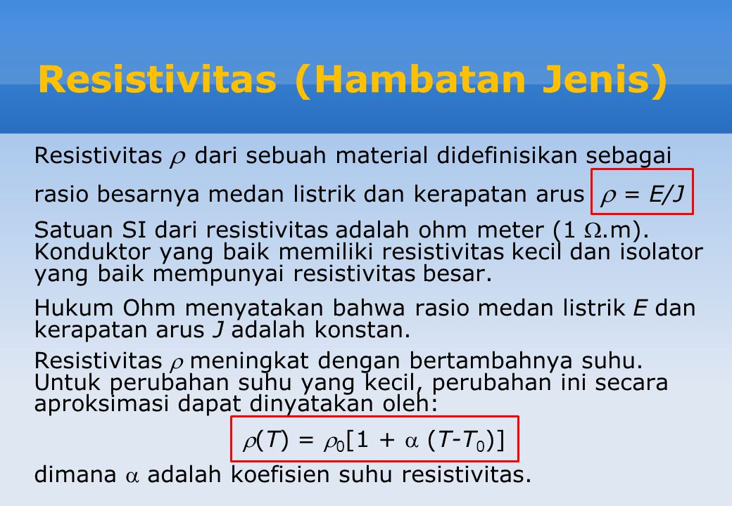 Resistivitas (Hambatan Jenis)