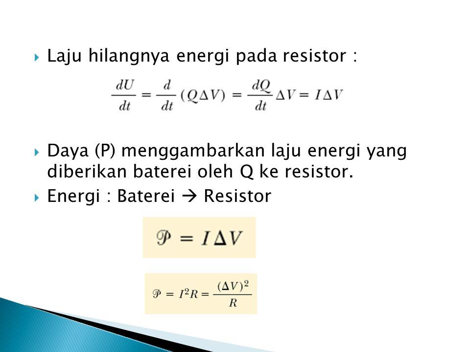 Laju hilangnya energi pada resistor :