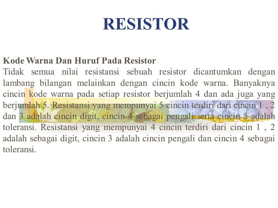 RESISTOR Kode Warna Dan Huruf Pada Resistor