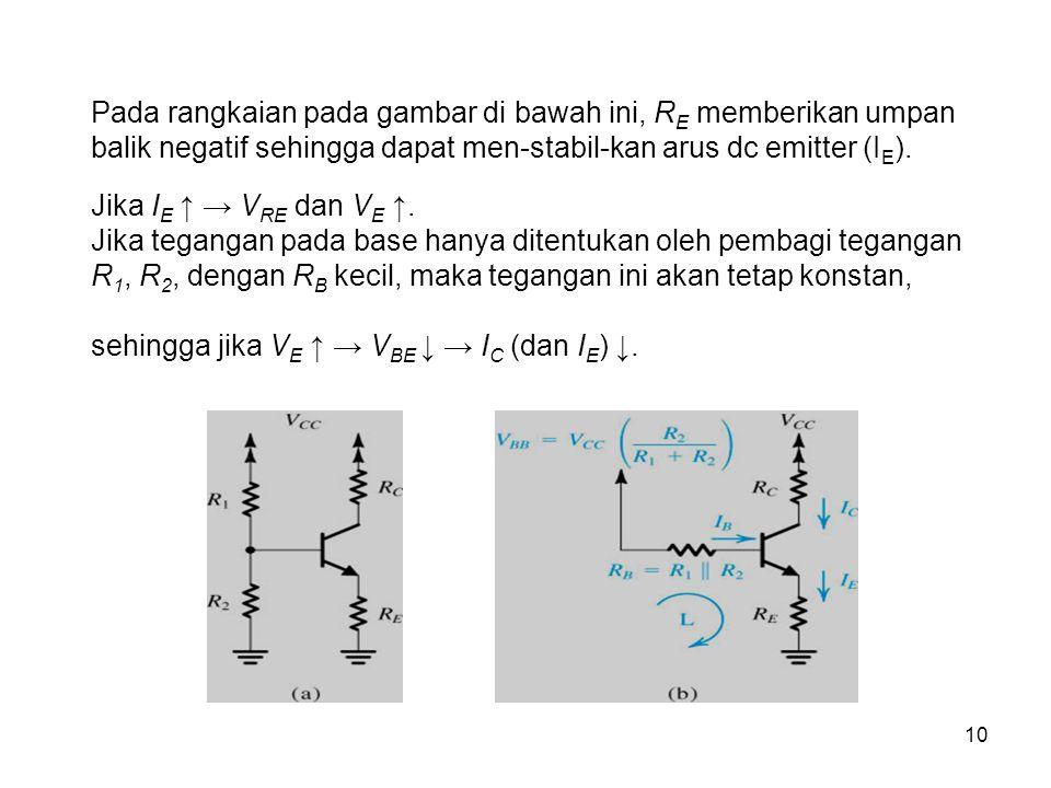 sehingga jika VE ↑ → VBE ↓ → IC (dan IE) ↓.