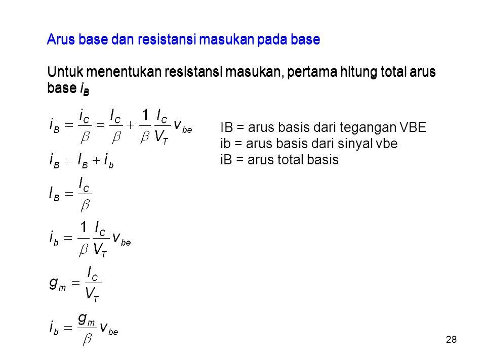 Arus base dan resistansi masukan pada base