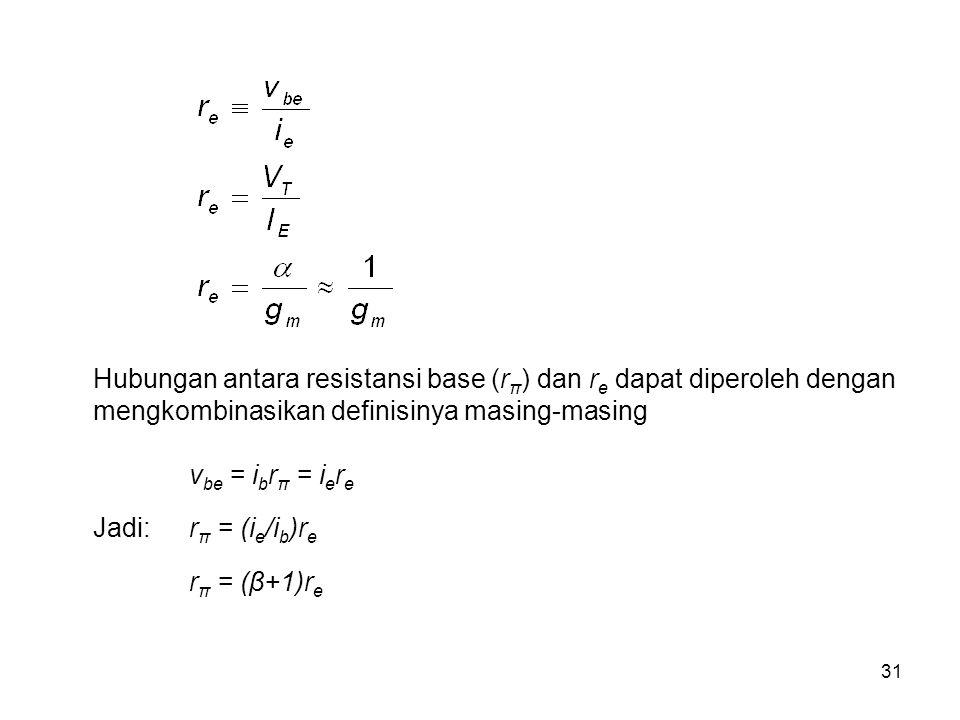 Hubungan antara resistansi base (rπ) dan re dapat diperoleh dengan mengkombinasikan definisinya masing-masing