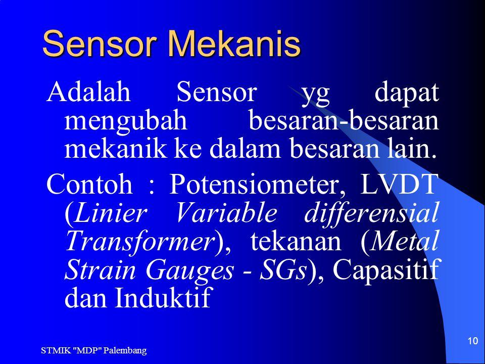 Sensor Mekanis Adalah Sensor yg dapat mengubah besaran-besaran mekanik ke dalam besaran lain.