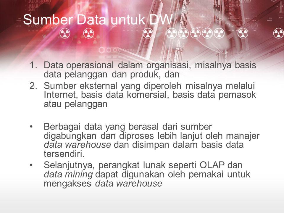 Sumber Data untuk DW Data operasional dalam organisasi, misalnya basis data pelanggan dan produk, dan.