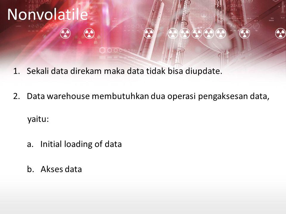 Nonvolatile 1. Sekali data direkam maka data tidak bisa diupdate.