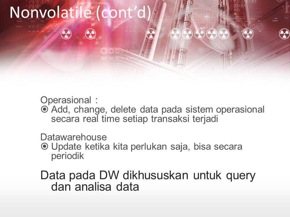 Nonvolatile (cont'd) Operasional : Add, change, delete data pada sistem operasional secara real time setiap transaksi terjadi.