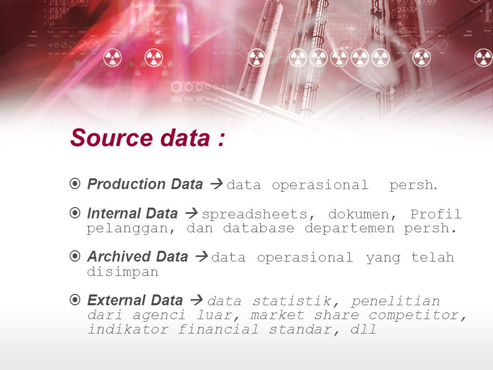 Source data : Production Data  data operasional persh.