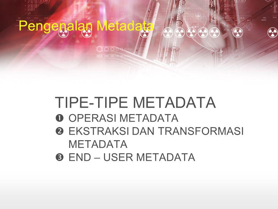 TIPE-TIPE METADATA Pengenalan Metadata OPERASI METADATA