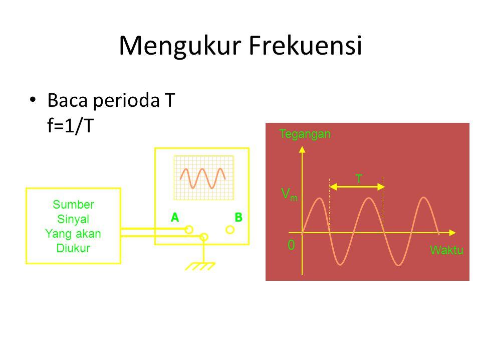 Mengukur Frekuensi Baca perioda T f=1/T Vm Tegangan Waktu T A B Sumber